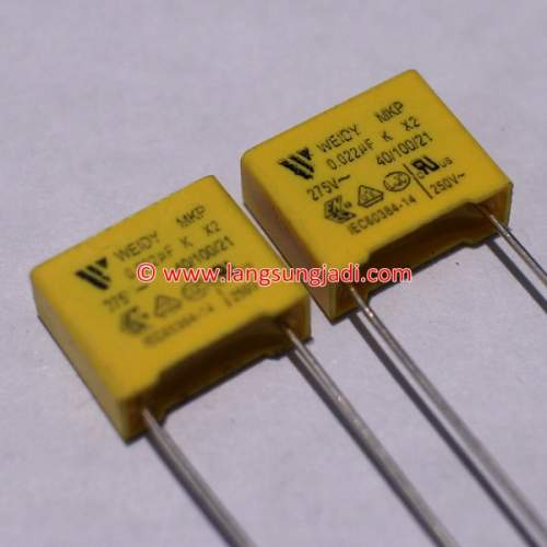 0.022uF (22nF) 275VAC X2 capacitor, each