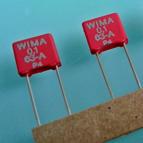 0.1uF (100nF) 63VDC Wima MKS 2 polyester capacitor, each -SOLD